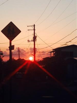 団地にも、団地なりに夕陽が沈むよ。