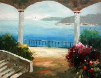 玄関・居間飾る油絵 手描き油絵 通常額有り 地中海風景