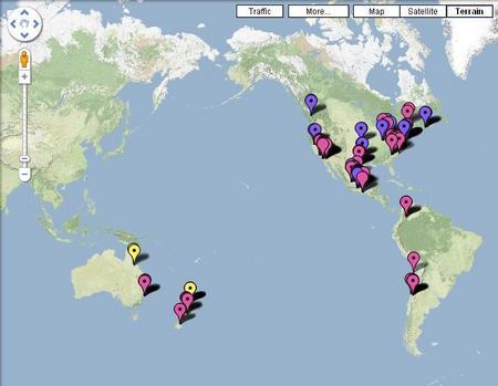 豚インフルエンザの感染者マップ