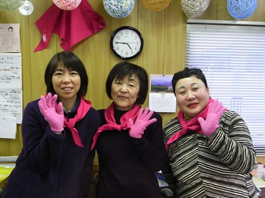 ピンクのスカーフが目印!私のスタッフです!