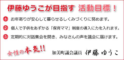 伊藤ゆうこが目指す活動目標!