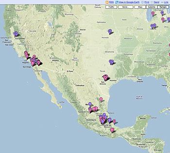 ぶたインフルエンザ感染マップ