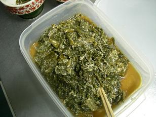 青菜漬けの煮物。
