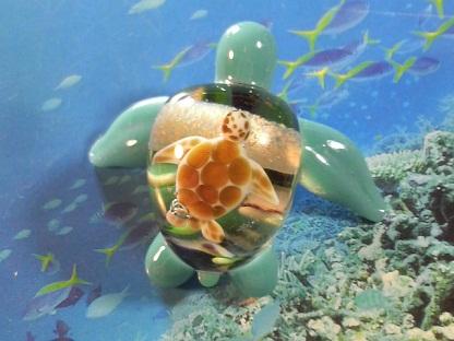 とんぼ玉 『美ら海ガメ』