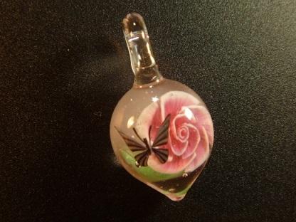 ガラス細工  『一輪の薔薇と蝶』