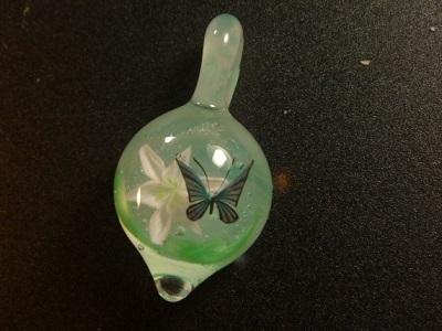 ガラス細工 『一輪の百合と蝶』