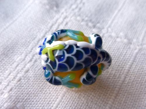 とんぼ玉 『青緑龍』