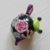 体験最終日 ガラス細工 かえると薔薇のペンダント