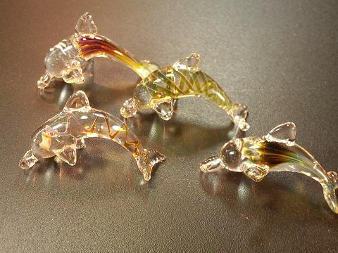 妖艶ガラス 『イルカの群れ』