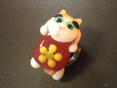 とんぼ玉 『三毛猫ちゃん』