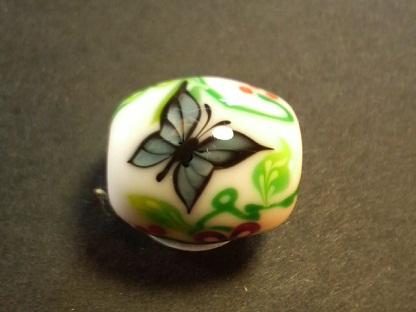 とんぼ玉 『紅型風 花蝶』