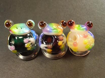 とんぼ玉 『虹色かえる』~3種~