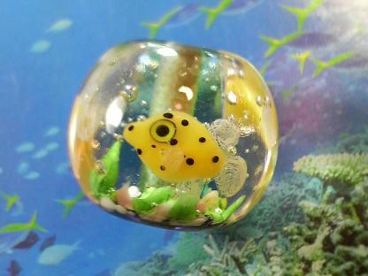 とんぼ玉 『美ら海-ハコフグ-』
