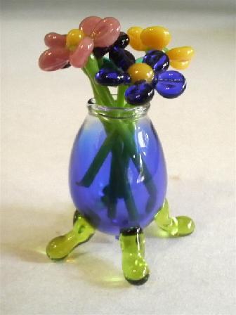 ガラス細工 『ちび花瓶とガラスの小花』