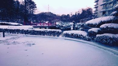 雪景色の緑水亭
