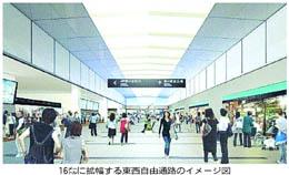 仙台駅南の東西自由通路を16メートルに拡張(河北新報より)