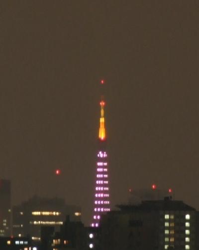 今日の東京タワーのダイヤモンドヴェールはドリーム・ピンク?