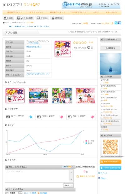 速報:mixiアプリに「アニメむすび丸ダンスパーティー」追加