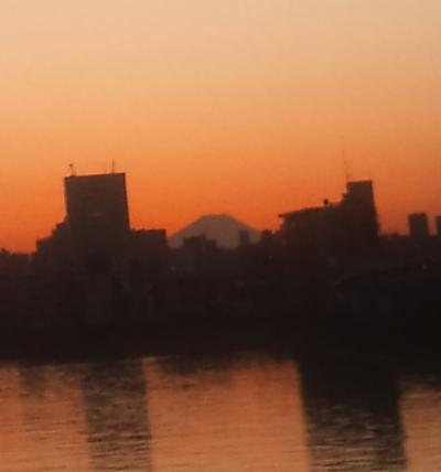 豊島橋(隅田川に架かる橋)から富士山が見えた。