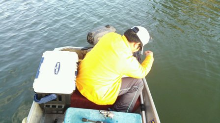 Goby fishing in boat