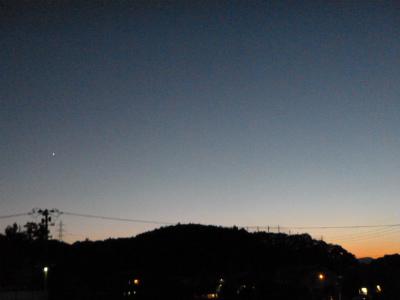 夕映え、金星、コウモリ、月、17日の夕方の散歩