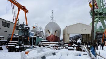 木戸浦造船での船底確認