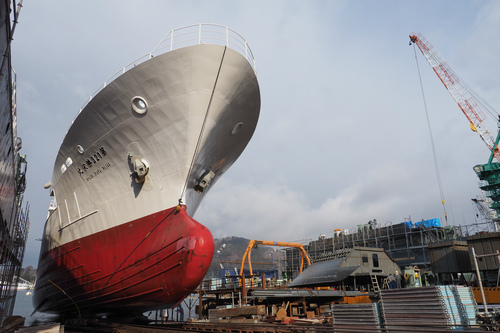 123勝栄丸が木戸浦造船に上架