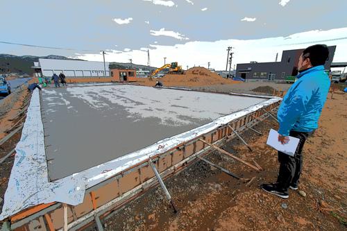 勝倉漁業の新倉庫建築開始