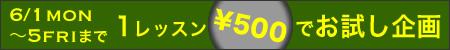 明日から1レッスン500円企画スタート♪