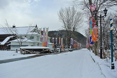雪の明治百年通り
