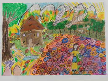 ハンガリーの子どもが描いた鹿角の民話