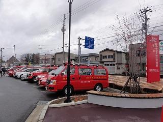 赤い車がずらずらと。。tags[秋田県]