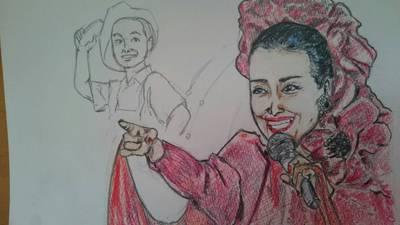 """色鉛筆で""""美空ひばり""""さんを描いてみた"""