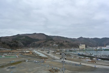 女川町中心部の造成工事状況