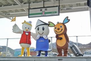 新生・女川駅のホームで写真撮影!