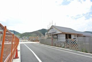 女川駅前の進ちょく状況(9月初旬)