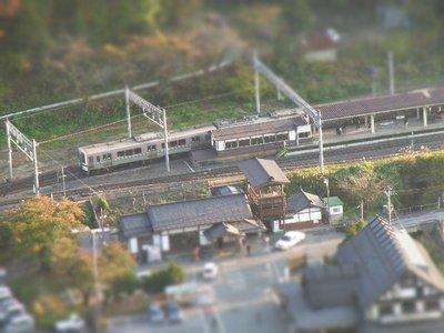 山寺駅 ☆高いところから箱庭写真シリーズ