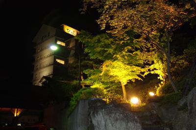 夜の吉川屋ライトアップ
